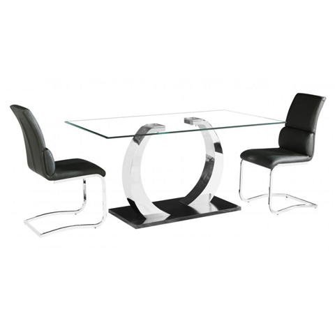 Phoenix dining table and 6 chairs with glass top and stainless steel base