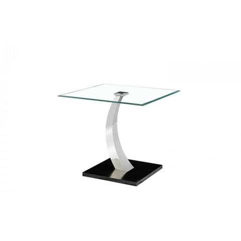 phoenix lamp table with glass top and stainless steel base
