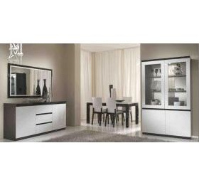 Roma black & white high gloss dinintable g set inc 4 chairs