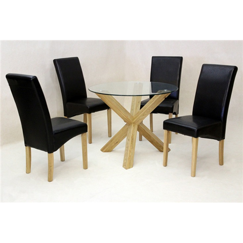Saturn small glass dining table with solid oak legs and 4 chairs