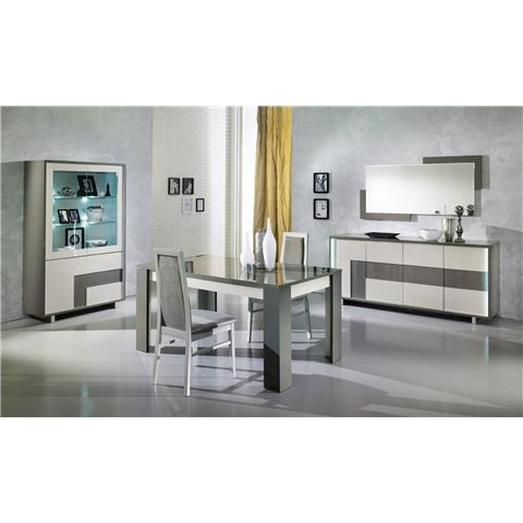 scuba highgloss italian white and grey dining table and 4 chairs