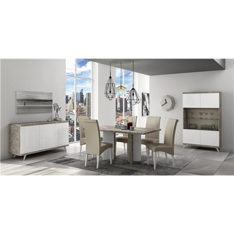 STATUS TREVISO GREY DINING TABLE and six chairs