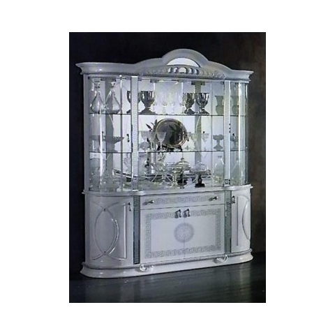 Ben Company New Venus White and Silver Italian 4 Door Vitrine