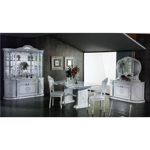 Venus Italian White & Silver Ext Table & 6 Chairs