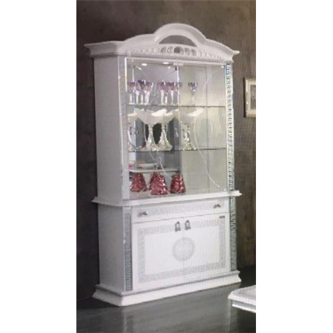 Ben Company New Venus White and Silver Italian 2 Door Vitrine