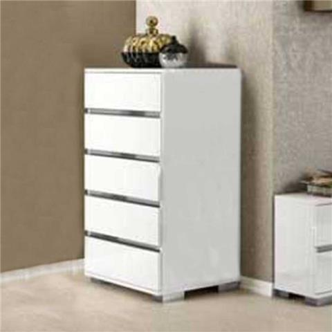Dream white high  gloss 5 draw chest