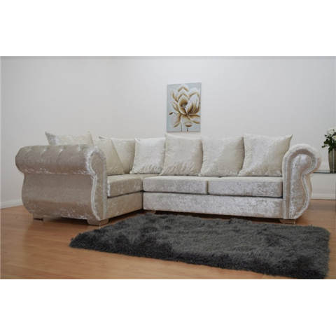 windsor right hand double arm crushed velvet cream corner group