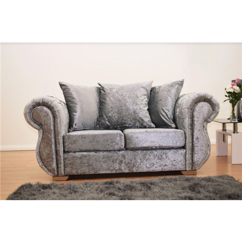 windsor crushed velvet 2 seater sofa in silver