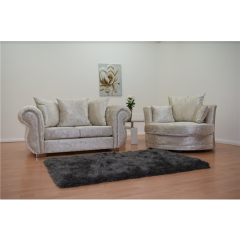 windsor crushed velvet two seater sofa and cuddle chair set in cream