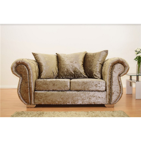 windsor 2 seater crushed velvet sofa in truffle colour