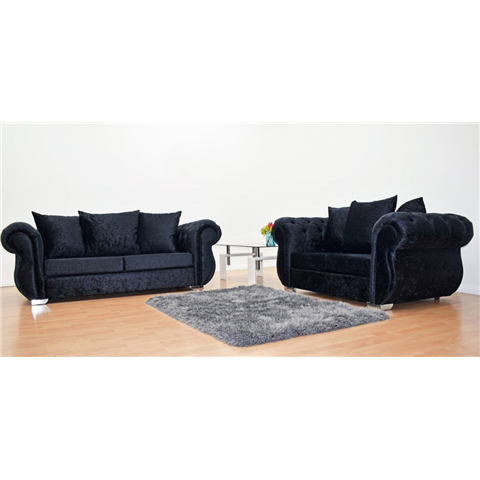 windsor 3 seater and 2 seater crushed velvet in black sofa set