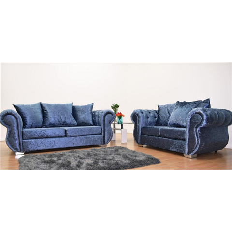 windsor crushed velvet 3 and 2 seater in denim blue
