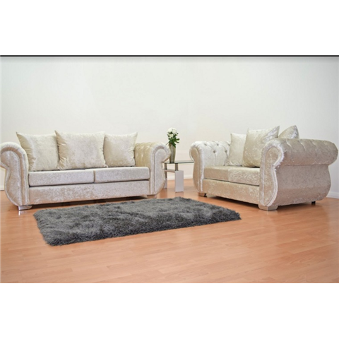 windsor crushed velvet 3 and 2 seater sofa set in cream