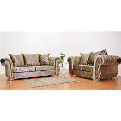 windsor crushed velvet 3 and 2  seater sofa set in truffle colour