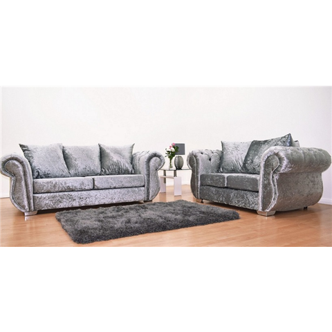 windsor crushed velvet 3 seater and 2 seater sofa set in silver