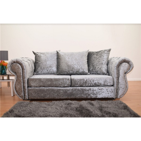 windsor crushed velvet 3 seater sofa in silver
