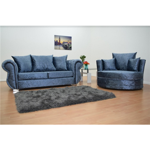 windsor crushed velvet 3 seater sofa and cuddle chair in denim blue colour