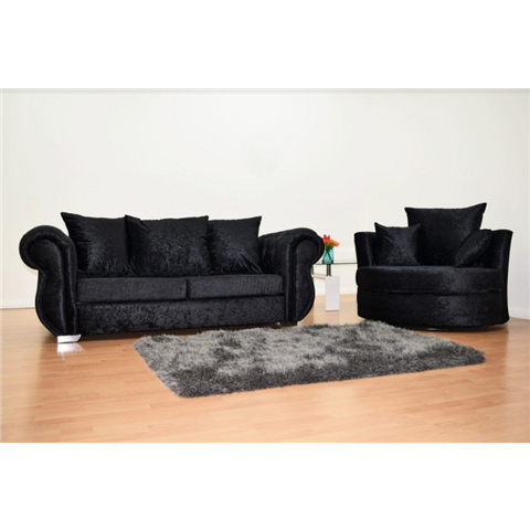 windsor 3 seater and swivel chair in black crushed velvet