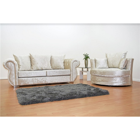 windsor crushed velvet 3 seater and cuddle chair in cream