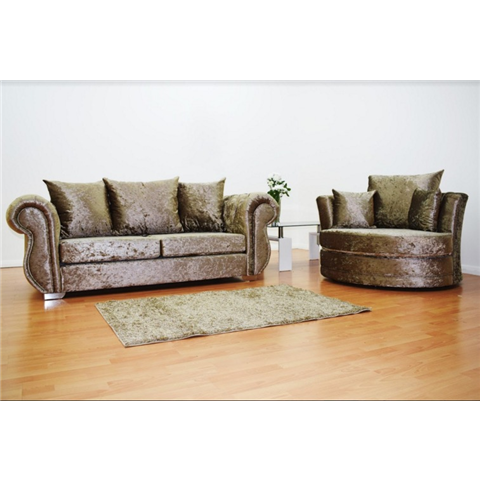 windsor crushed velvet 3 seater sofa  and cuddle love chair in truffle