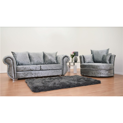 windsor 3 seater crushed velvet sofa and swivel love chair in silver