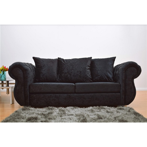 windsor 3 seater crushed velvet sofa in black