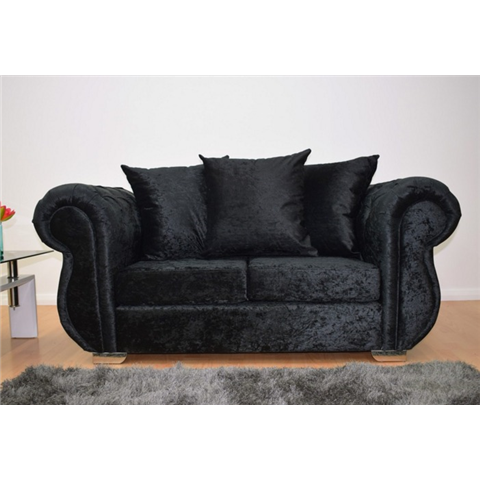 windsor 2 seater crushed velvet in black