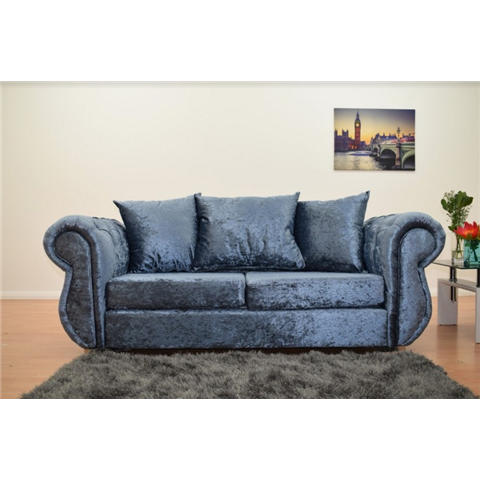 windsor crushed velvet 3 seater scatter back sofa in blue denim colour