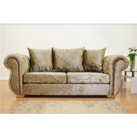 windsor 3 seater crushed velvet sofa in truffle