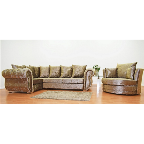 windsor crushed velvet corner sofa and love chair in truffle