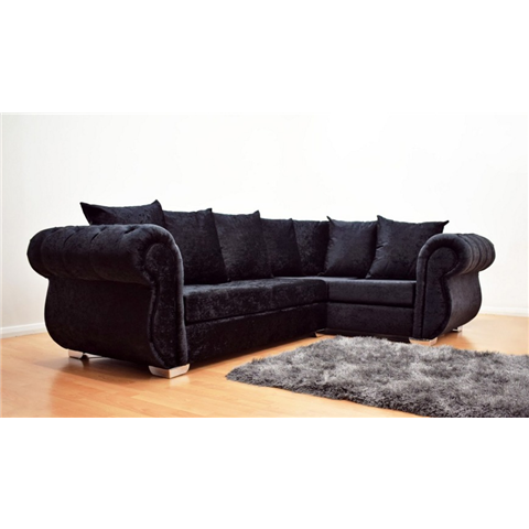 windsor crushed velvet corner sofa in black