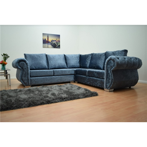 windsor crushed velvet corner sofa in blue denim