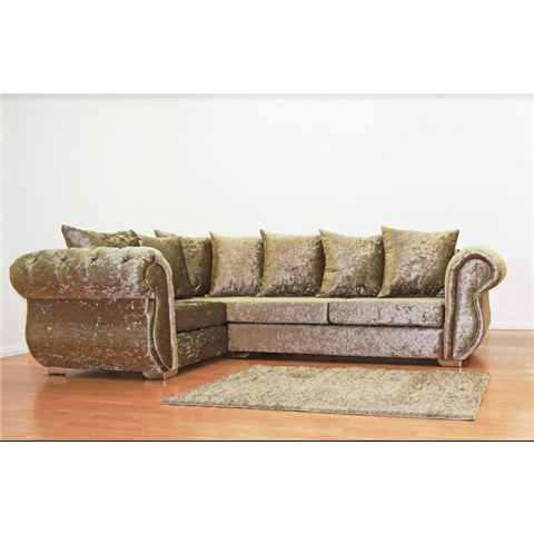 windsor crushed velvet corner sofa in truffle