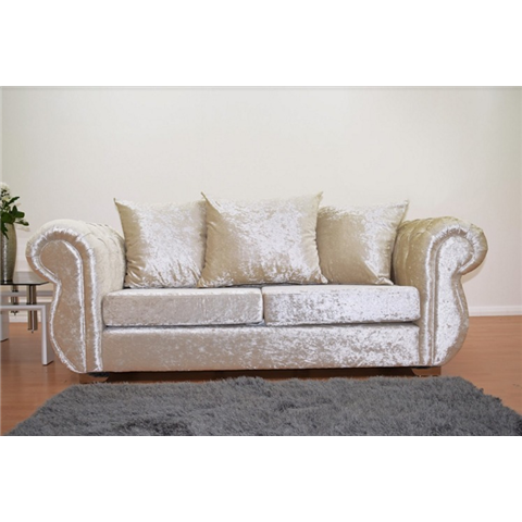 windsor crushed velvet 3 seater sofa in cream