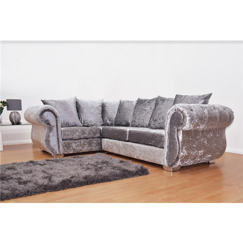 windsor crushed velvet silver corner sofa