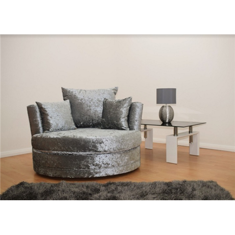 windsor crushed velvet silver swivel love chair