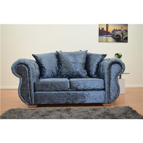 windsor crushed velvet 2 seater sofa in denim blue