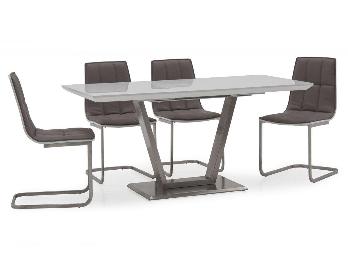 Metis High Gloss Small 120cm Extending Dining Table And 4