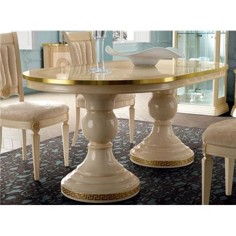 Camel Group Aida Ivory and Gold Oval Extension Dining Table with 6 Chairs