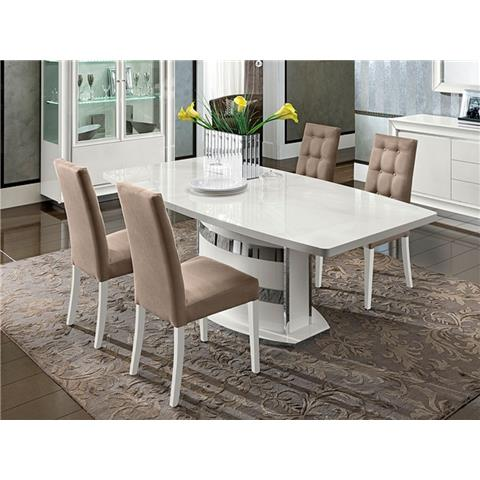 Camel Dama White Italian Large Extending Dining Table and 4 Chairs