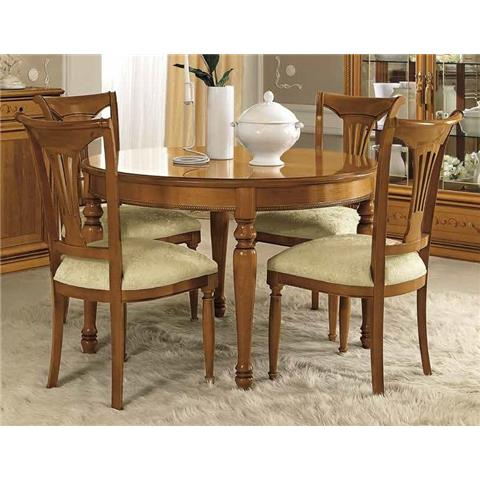 Camel Siena Day Cherry Italian Round Extending Dining Table and 4 Chairs