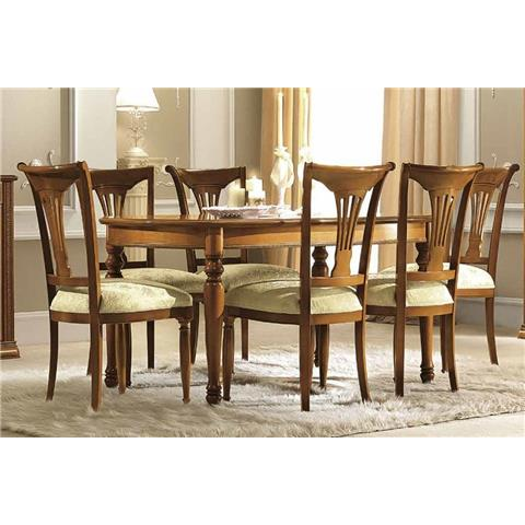 Camel Siena Day Cherry Italian Oval Extending Dining Table and 6 Chairs