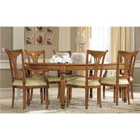 Camel Siena Day Cherry Italian Extending Dining Table with 4 Chairs and 2 Armchair